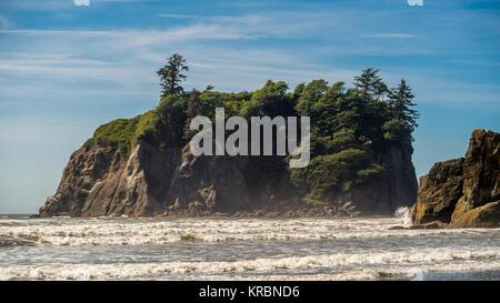 Abbey Island on Ruby Beach - Stock Photo