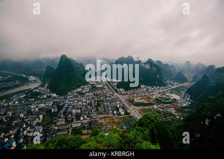 Yangshuo, China aerial view. - Stock Photo