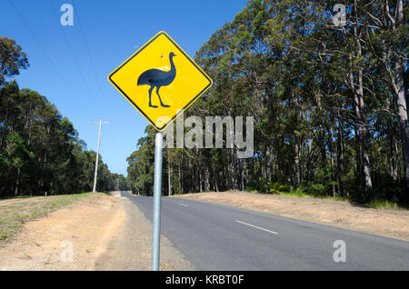 Emu road sign, Potato Point, New South Wales, Australia - Stock Photo