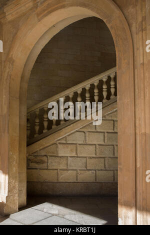 Arched entrance to a stairwell, Palacio de Carlos V, La Alhambra, Granada, Andalusia, Spain - Stock Photo