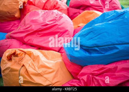 shapeless colored Bean bag chairs - Stock Photo
