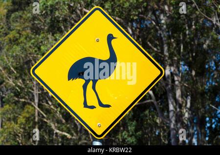 Emu road sign, Potato Point, New South Wales, Australia - Stock Photo