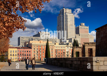 Madrid, Spain - December 21, 2015: Madrid Cityscape – Plaza de Espana viewed from Parque del Oeste, Madrid. - Stock Photo