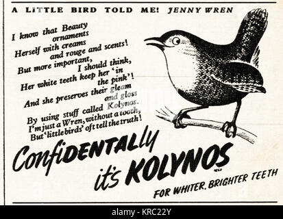 1940s old vintage original advert advertising Kolynos toothpaste in magazine circa 1947 when supplies were still - Stock Photo