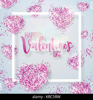 Happy Valentines Day Illustration with Pink Glittered Hearth on Shiny White Background. Vector Wedding and Love - Stock Photo