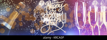 Happy New Year message against white fireworks exploding on black background - Stock Photo