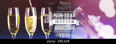 Happy New Year message against two full glasses of champagne and one being filled - Stock Photo
