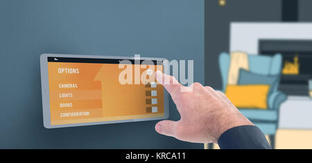 Businessman pointing with his finger against illustrative image of armchair against fire place - Stock Photo