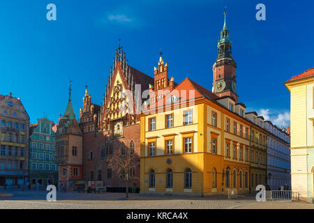 City hall on Market Square in Wroclaw, Poland - Stock Photo