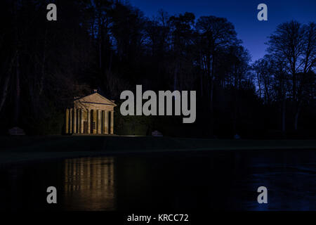Seasonal lights at Fountains Abbey and Studley Royal, Yorkshire, UK. - Stock Photo