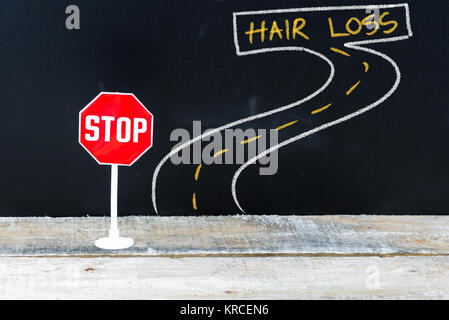 Mini STOP sign on the road to HAIR LOSS - Stock Photo