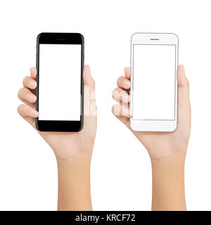 women hold phone showing blank screen display on white background, mockup new phone technology black and white color - Stock Photo