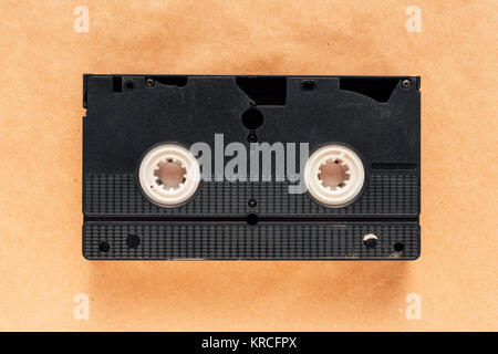 Used VHS (video home system) video cassette tape, retro technology - Stock Photo