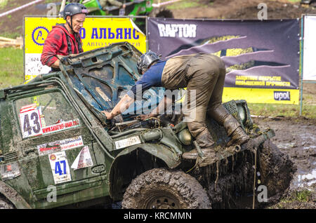 SALOVKA, RUSSIA - MAY 5, 2017: Championship off-road on oall-wheel drive cars cars at the annual car racing 'Trophy - Stock Photo