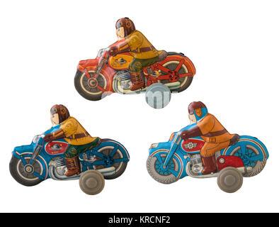 Motorcycles tin toy  / Isolated white - Stock Photo