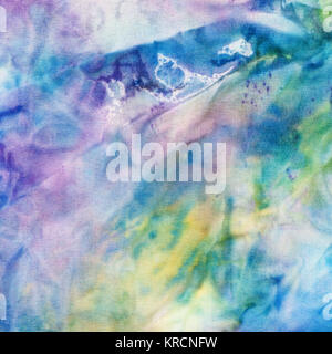 abstract blue and yellow painted silk batik - Stock Photo