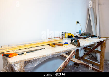 Table with the tools of a carpenter - Stock Photo