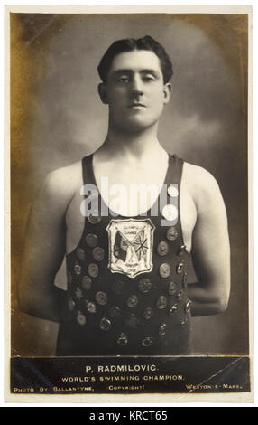 PAULO RADMILOVIC World swimming champion of the 1908 Olympic Games (held in London), proudly wearing an impressive - Stock Photo