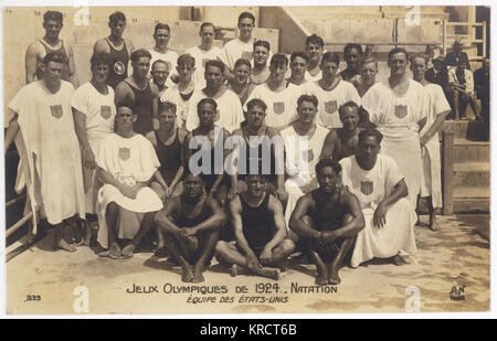 The USA Olympic swimming team; photo by 'AN' Paris. Date: 1924 - Stock Photo