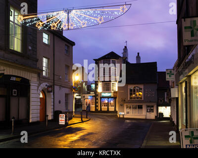 The Castle Inn at Christmas from the Market Place at Knaresborough North Yorkshire England - Stock Photo