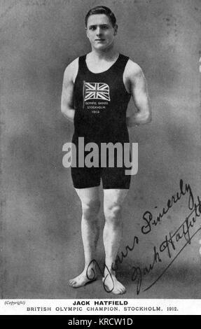 Jack Hatfield (John Gatenby 'Jack' Hatfield, 1893-1965), British Olympic swimming champion, seen here at the time - Stock Photo