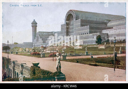 The Crystal Palace and grounds, looking from the south east Date: Circa 1900 - Stock Photo