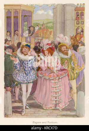 Two Elizabethan Pagan dandies,  hand in hand with a young  woman gaily dressed in pink, are berated by Puritans - Stock Photo