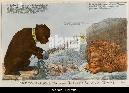 Satirical cartoon, Foreign Amusements or the British Lion on the Watch.  A giant lion glares at a giant bear (Tsar - Stock Photo