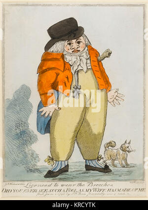 Satirical cartoon, Licenced to wear the Breeches.  Did you ever see such a fool, as my wife has made of me?  A pair - Stock Photo