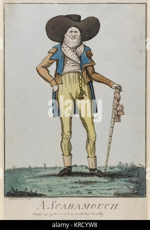 Satirical cartoon, A Scaramouch. A portrait of a man absurdly kitted in the fashion of the day.  He wears a spencer - Stock Photo