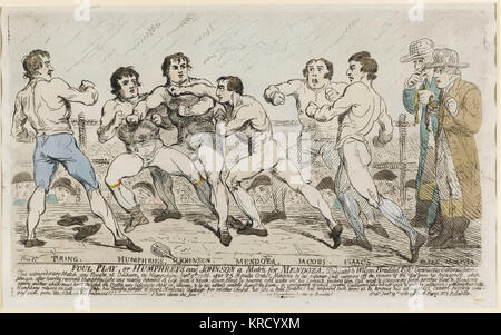 Cartoon, Foul Play or Humphreys and Johnson a Match for Mendoza.  This print records a boxing match held at Odiham Hampshire on 9 January 1788, widely reported by the press. The course and outcome of the fight is recorded on the lengthy inscription (below) -- while Humphries was declared the winner, the result was far from decisive.  The two men fought again, in 1789 and 1790, and Mendoza won both times.  Gillray produced a number of such boxing prints in 1788 and a striking aquatint portrait of the famous Jewish boxer Mendoza in classic pugilist pose.       Date: 1788