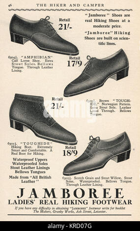 Advertisement for Ladies  Hiking Boots by Jamboree.         Date: December 1931 - Stock Photo
