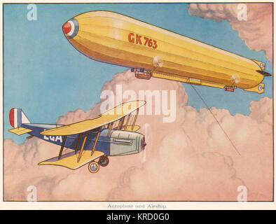 An aeroplane and a huge airship share air space above the clouds.     Date: c.1925 - Stock Photo