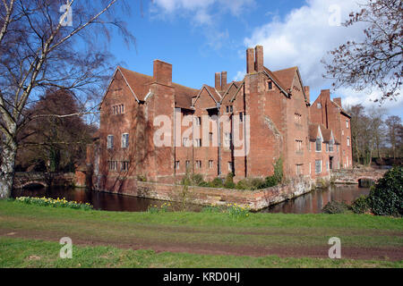 Harvington Hall is a moated medieval and Elizabethan manor house in the hamlet of Harvington in the civil parish - Stock Photo