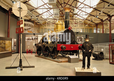 A display centred around Isambard Kingdom Brunel at the Swindon Steam Railway Museum.  Behind the model of Brunel - Stock Photo