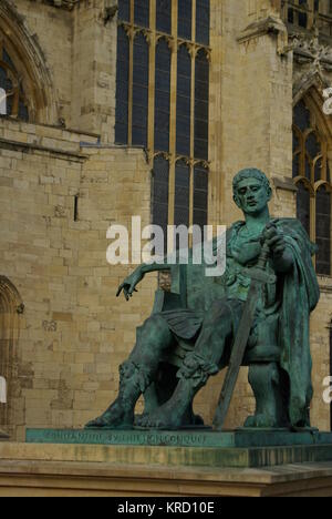 Statue of the Roman Emperor Constantine (272-337), outside York Minster.  In AD306 Constantine the Great was hailed - Stock Photo