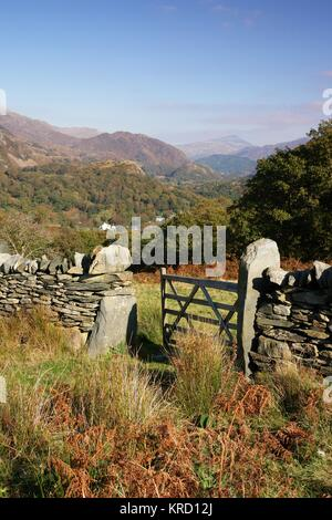 A view of the Nant Gwynant valley from above Beddgelert in Snowdonia, Gwynedd, North Wales, with a stone wall and a five-barred gate.       Date: October 2007