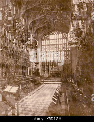 Interior of St George's Chapel, Windsor, at the time of the funeral of King Edward VII, showing the ornate gothic - Stock Photo