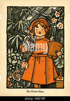 The Flower Girl. A young girl in a red dress stands happily in a greenhouse, holding a flowerpot in one arm and - Stock Photo