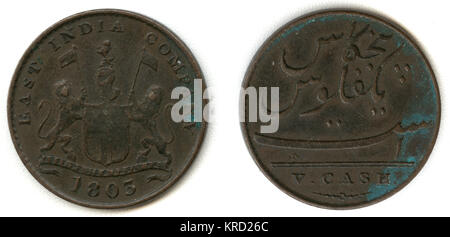 An East India company coin dated 1803, during the Madras Presidency.  Bearing the coat of arms of two lions with - Stock Photo