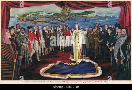 Illustration celebrating the Coronation of Queen Elizabeth II in 1953 depicting the Queen in her ceremonial regalia - Stock Photo