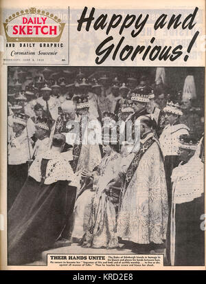 Front cover of the Daily Sketch magazine from June 3rd 1953, the day after the Coronation of Queen Elizabeth II - Stock Photo