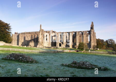 Bolton Abbey, in the Yorkshire Dales.  It was founded in 1151 by the Augustinian order, on the banks of the River - Stock Photo