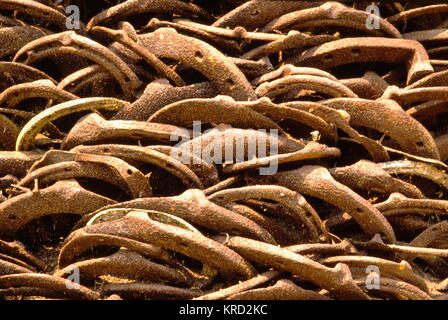 Close-up of horseshoes making up a tall pile, or pillar, of discarded horseshoes outside the old Blacksmith's shop - Stock Photo