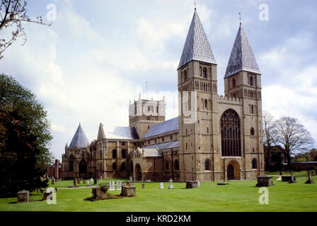 View of the west front of Southwell Minster, near Newark, Nottinghamshire.  Its full name is the Cathedral and Parish - Stock Photo