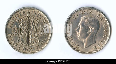 British coin, George VI half crown (two shillings and sixpence, or 30 pennies).       Date: 1942 - Stock Photo