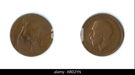 British coin, a George V halfpenny for 1915, with Britannia on the reverse.      Date: 1915 - Stock Photo