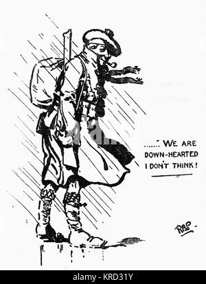 Sketch by Sir Robert Baden-Powell of a cheery Scottish soldier during World War I, with the rousing, optimistic - Stock Photo