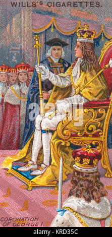 Enthronisation ceremony during the Coronation of King George I in 1714.  As the King could not speak English and - Stock Photo