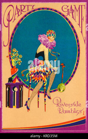 Cover of a party game card from the 1920s featuring a flapper girl in a harlequin style fancy dress costume with - Stock Photo